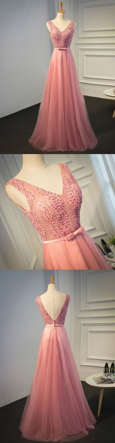 Simple Pink Prom Dress V neck Party Dress, A-Line Tulle Evening Dress 51811 #RosyProm #fashionpromdress #charmingpromgown #longpartydress #simpleeveningdress #Vneckpromdress #pinkpromgown