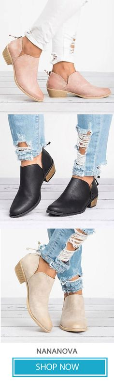 d3725405cbc5be Women Pu Boots Casual Daily Chunky Heel Shoes