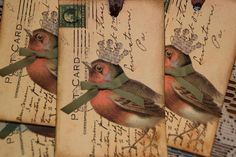Crown Bird Postcards Tags by GreenAcresCottage on Etsy, $3.75