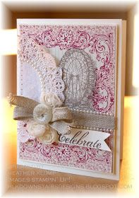 From Stampin' Up! sale-A-Bration Catalog...Feeling Sentimental stamp set and Print Poetry DSP stack and Embelishments from 2013 Spring Catalog