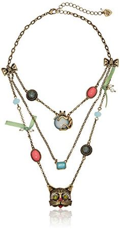 Betsey Johnson Women's Pet Shop Vintage Kitty Illusion Necklace Multi/Brass Ox Strand Necklace Betsey Johnson http://www.amazon.com/dp/B00KTMYI8Y/ref=cm_sw_r_pi_dp_PySYub0A2NVVM