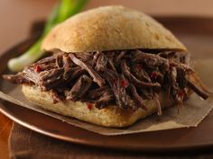 Slow Cooker Tangy Italian Beef Sandwiches - 1 boneless beef sirloin tip roast (3 to 4 lb),1/4 cup packed brown sugar, 1 bottle (16 oz) Italian dressing, 2 tsp Italian seasoning. Cook on low 10- 12 hours.