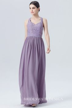 Chic floral lace bodice is combined with a soft chiffon long skirt, choose this chic style for a wedding party! The chic sleeveless floral lace bodice features a halter and V-shape neckline. Zipper closure back. Purple Lace Bridesmaid Dresses, Bridesmaid Dress Stores, Affordable Bridesmaid Dresses, Elegant Prom Dresses, Perfect Wedding Dress, Cheap Wedding Dress, Wedding Dresses, Long Chiffon Skirt, Lace Chiffon
