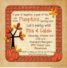 Pumpkin birthday invitation pumpkin first birthday invitation fall celebrate your little pumpkin pickers with fall sibling birthday invitation filmwisefo