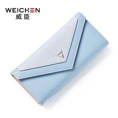 WEICHEN Brand Sweet Long Women Wallet Envelop Shape Concise Lady Clutch Purse Hasp Girl Multi Card Slots Notecase PR07A511-39