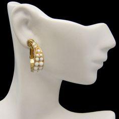 BEAUTIFUL MILK GLASS BEADS EARRINGS! These vintage 1960s Napier clip earrings feature beautiful little milk glass beads. See All the Great Vintage Earrings in My Shop: https://www.etsy.com/shop/MyClassicJewelry?section_id=13113950