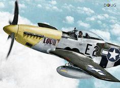 "Col. Thomas J. J. Christian, Jr. - P.51D ""Mustang"" E2-C 'Lou IV' - 361st FG, 375th FS, 8th U.S.A.A.F. - 26/7/44. (KIA 12/8/44 aged 28)"