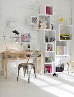 Interior Design #cute #design #desk #study #bookcase #cube #storage