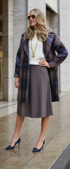 plaid coat, flowy midi skirt + classic cable knit sweater