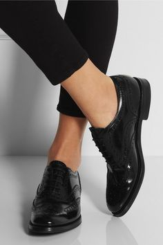 Handmade  Heel measures approximately 25mm/ 1 inches Black polished leather  Wingtip detailing, lace-up details Slip on