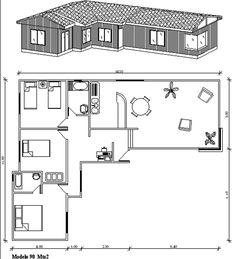 """Plano de casa de 90 m2 en forma de """"L"""" con 3 dormitorios"""