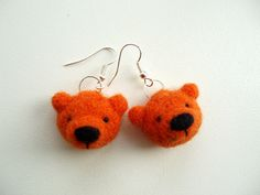 Needle Felted Orange Bear earrings, gifts for Her, gift in the box, gift for friend by MishaShop on Etsy https://www.etsy.com/listing/169204772/needle-felted-orange-bear-earrings-gifts