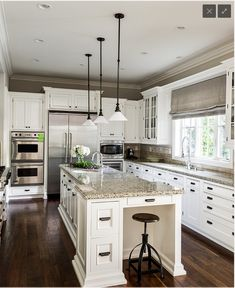 White Cabinets Dark Floors love the pendant lighting in this kitchen