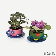 DIY painted teacup planters- OrientalTradingCo
