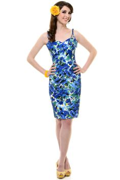Blue Floral Summer Wiggle Dress - Unique Vintage - Prom dresses, retro dresses, retro swimsuits.