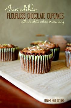 Incredible flourless, gluten-free, paleo chocolate cupcakes- fudgy and oh so decadent!!! You'll never miss the flour!