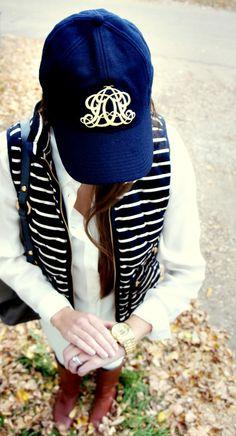 Casual fall look - vest & monogrammed baseball cap