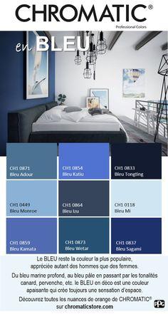 Le #BLEU reste la couleur la plus populaire, appréciée autant des hommes que des femmes. Du bleu #marine profond, au bleu #pâle en passant par les tonalités canard, pervenche, etc. le BLEU en #déco est une couleur apaisante qui crée toujours une sensation d'espace. Découvrez toutes les nuances de orange de CHROMATIC® sur www.chromaticstore.com