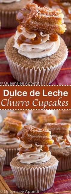 These Dulce de Leche Churro Cupcakes are a must for Cinco de Mayo! Soft and fluffy cinnamon cupcakes, filled with gooey dulce de leche, dipped in cinnamon sugar, topped with cinnamon buttercream and a dulce de leche filled churro! Brownie Desserts, Oreo Dessert, Köstliche Desserts, Delicious Desserts, Appetizer Dessert, Easy Cookie Recipes, Cupcake Recipes, Mexican Food Recipes, Sweet Recipes