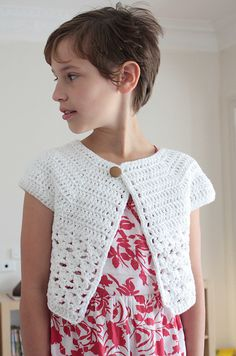 free Ravelry: Bebop or Urban Girl Cardi pattern by Lion Brand Yarn. #cardi #children #crochet