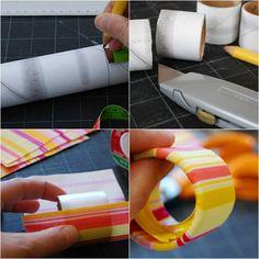 Porta guardanapo com rolo de papel higiênico ou de papel toalha + tecido