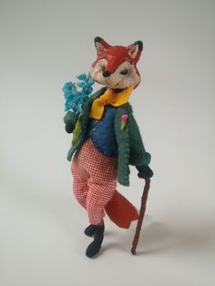 Mr. Fox Goes for a Walk // OOAK Painted Folk Art Doll // Pose-able Miniature Storybook Character