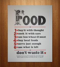 """Food. Don't Waste It"" Letterpress Print | Art Prints | Western New York Book Arts Center | Scoutmob Shoppe | Product Detail"