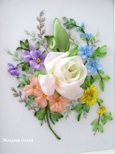 Wonderful Ribbon Embroidery Flowers by Hand Ideas. Enchanting Ribbon Embroidery Flowers by Hand Ideas. Flower Embroidery Designs, Simple Embroidery, Types Of Embroidery, Learn Embroidery, Silk Ribbon Embroidery, Hand Embroidery Patterns, Embroidery Stitches, Embroidery Techniques, Ribbon Art