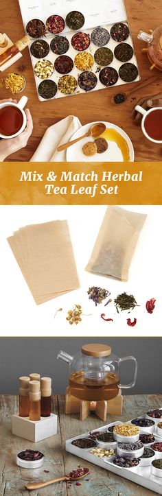 Create a custom tea blend with this kit that includes nine herbs and three varieties of organic green tea.