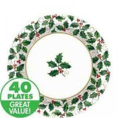 Green Holly Christmas Holiday Lunch Plates 40 Count by vision2win