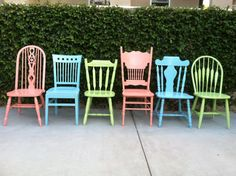 Dining Chairs, Vintage ,Set of 6, Custom Colors, Mix and Match, Spindle Chairs, Shabby Chic Kitchen Chairs (Los Angeles) on Etsy, $954.00