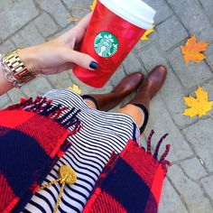 striped dress + scarf + riding boots