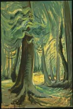 Deep Forest, Lighted - Carr, Emily (Canadian, 1871 - Fine Art Reproductions, Oil Painting Reproductions - Art for Sale at Galerie Dada Tom Thomson, Canadian Painters, Canadian Artists, Emily Carr Paintings, Deep Paintings, Group Of Seven Paintings, Deep Forest, Forest Light, Forest Art