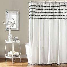 Lush Decor Aria Pom Shower Curtain, 72 x 72 inches, Black...
