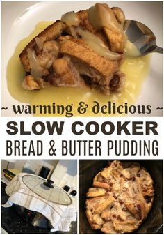 This bread and butter pudding is made in the slow cooker but it still gets a brown top when cooked. It's cheap & a great way to use bread, so no food waste. Slow Cooker Desserts, Slow Cooker Bread, Slower Cooker, Cooking On A Budget, Budget Meals, Food Budget, Budget Recipes, Slow Cooking, Crockpot Recipes