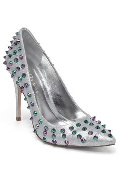 Pumps || 'Oahu' silver metallic holographic studded heels by BCBG