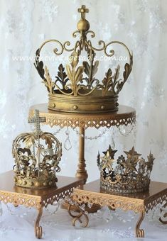 Our gilded French crowns for a Cinderella or Princess themed high tea or party. Royal Crowns, Tiaras And Crowns, Muebles Shabby Chic, Crown Decor, Daughters Of The King, French Decor, Crown Jewels, The Crown, Decoration