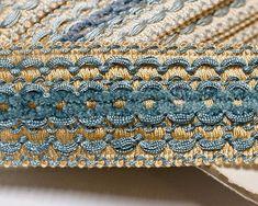Vintage French Passementerie Trim braid trim in Blue and