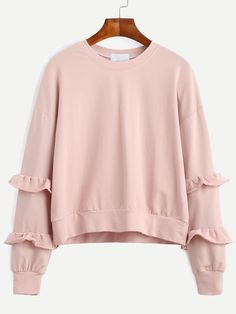 Pink Drop Shoulder Ruffle Trim Sweatshirt — 0.00 € --------------color: Pink size: one-size