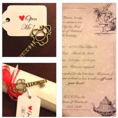 Finished product!  Bekah's invites for her mad hatter themed sweet sixteen