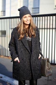 Slouchy cap + oversized jacket-- Tomboy cool
