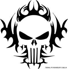 tribal skull stencil for Airbrush Tattoo craft Art in Crafts, Art Supplies, Airbrushing Punisher Symbol, Punisher Tattoo, Airbrush Tattoo, Airbrush Skull, Skull Stencil, Stencil Art, Skull Art, Stencil Patterns, Stenciling