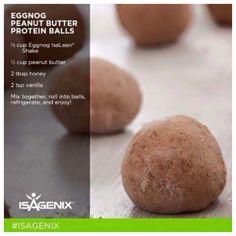 Egg Nog Peanut Butter Protein Balls