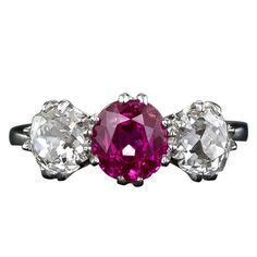 Natural Unheated Burmese Ruby and Diamond Three Stone Ring