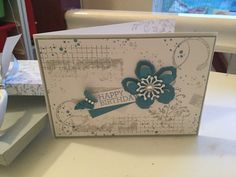 Stampin Up Timeless Textures stamp set with Botanical Blossoms dies. Basic grey and Marina Mist inks love the colours.
