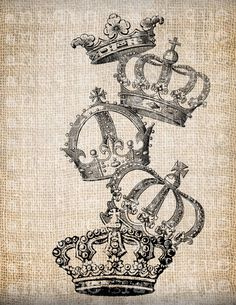 Antique French Royal Stack of Crowns Digital Download for Tea Towels, Papercrafts, Transfer, Pillows, etc Burlap  No 3291. $1.00, via Etsy.