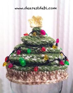 Newborn Christmas Tree Crochet Hat *Free* Crochet Pattern by DearestDebi