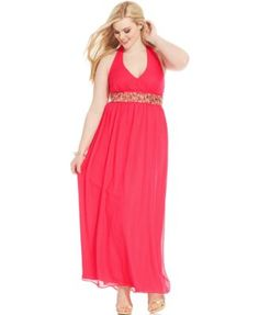Trixxi Plus Size Halter Embellished Gown