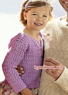 Сиреневая ажурная кофточка для девочки 2-10 лет. Вязание крючком для детей