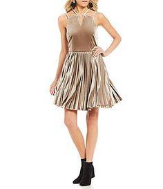 2e2d40318c1 Gianni Bini Jenni Pleated Velvet Dress Metallic Cocktail Dresses